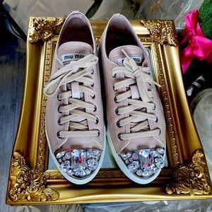 AUTH MIU MIU DONNA Embellished Tan Sneakers 38.5